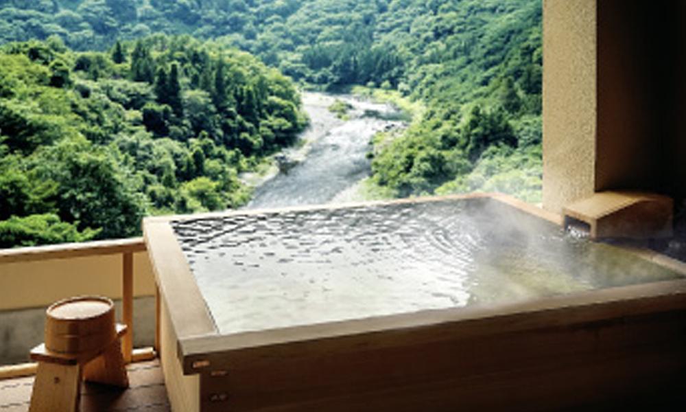 露天風呂付洋室の露天風呂<br /> お湯は源泉かけ流しです