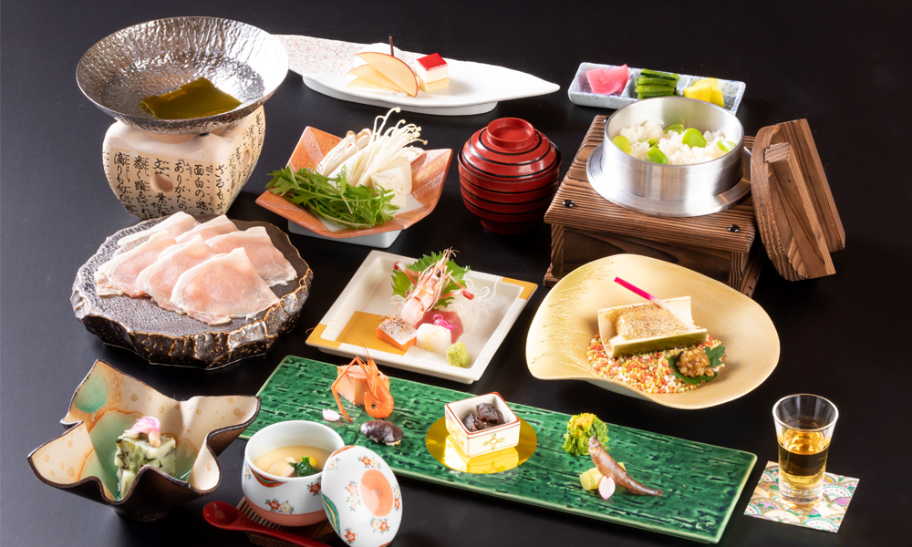 ご夕食お料理の一例<br /> ご要望によりフレンチのご夕食も可能です